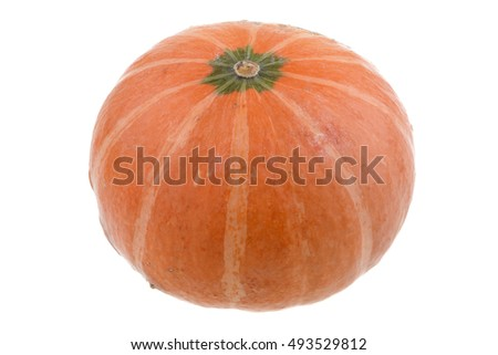 ripe yellow pumpkin isolated on white background
