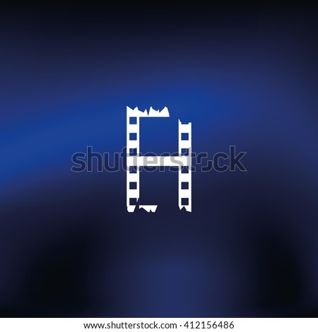 Ripped film strip. Celluloid icon. - stock photo