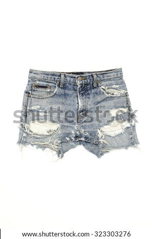 ripped jeans shorts isolated on white - stock photo