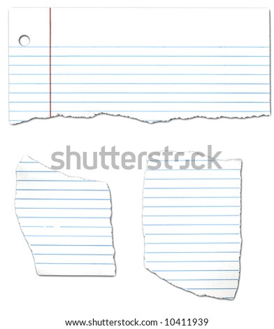 Ripped Looseleaf Paper Collection - stock photo