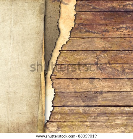 Ripped paper and wood background - stock photo