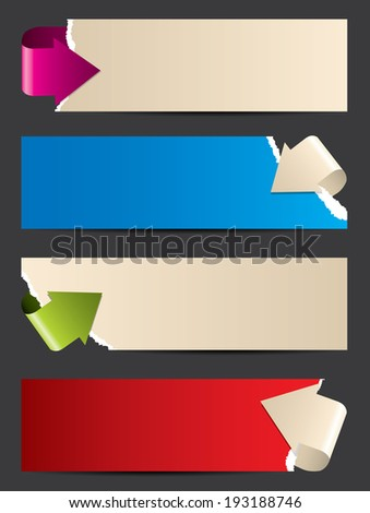Ripped paper banner design with bending paper arrows - stock photo