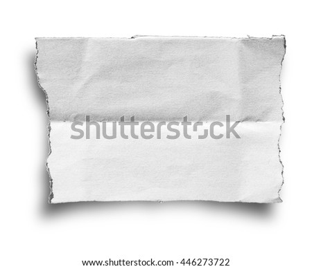 Ripped paper, space for copy on white background with clipping path. - stock photo