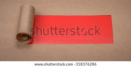 Ripped paper with space for text with red background - stock photo