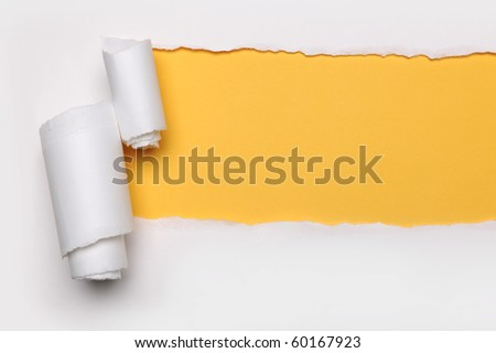 Ripped Paper with yellow hart's shape and on a white background
