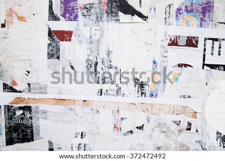 ripped street poster, grunge background - stock photo