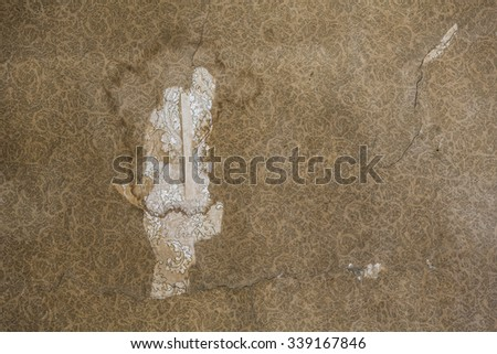 Ripped 19th century wallpaper pattern and texture - stock photo