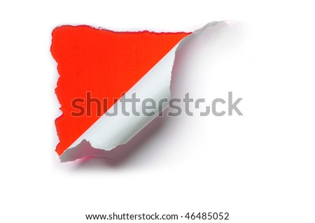 ripped white paper against a red background - stock photo
