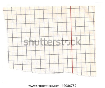 ripped white paper note on white background with clipping path - stock photo