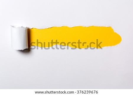 Ripped white paper with curled edges. Different colors under the white paper - stock photo
