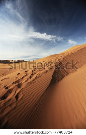 Rippled Sand dune in the Badain Jaran Desert, Inner Mongolia, China - stock photo