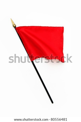 Rippled Silk Red Flag on Pole isolated on white background - stock photo