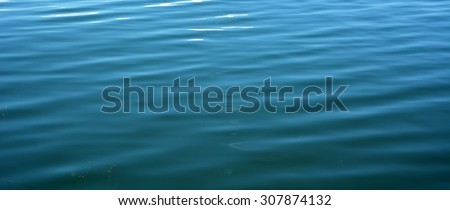 Ripples on the blue water at the wind. Background, texture. Panoramic picture - stock photo