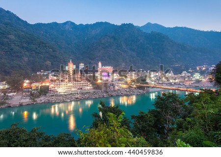 Rishikesh at night, it is a city in nothern India, it is known as the Gateway to the Garhwal Himalayas.