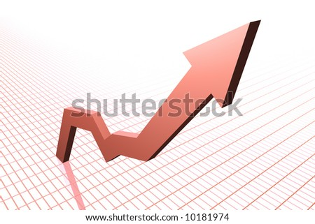 Rising Graph (red) - stock photo