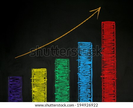 Rising graph with colorful chalk on blackboard