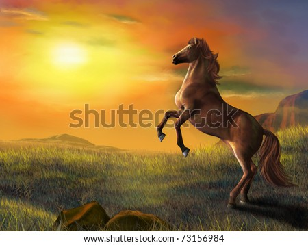 Rising horse over a beautiful landscape at sunset. Digital illustration. - stock photo