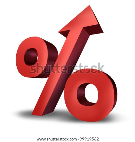 Rising interest rates symbol with a dimensional red percentage sign pointing upward as an icon of success or increasing financial payments and taxes on a white background. - stock photo