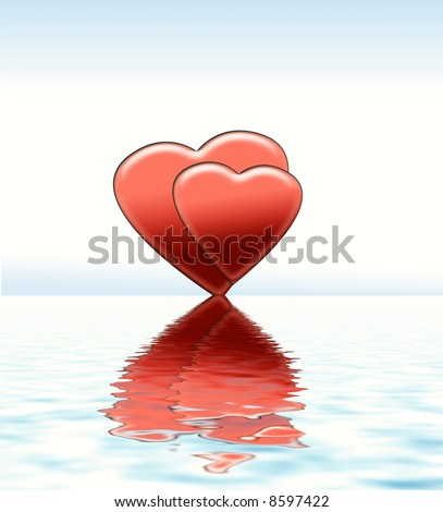 Rising love, hearts reflected in the water, illustration, - stock photo