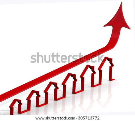 Rising real estate prices. Graph of rapid growth with the contours of the houses. Financial concept - stock photo