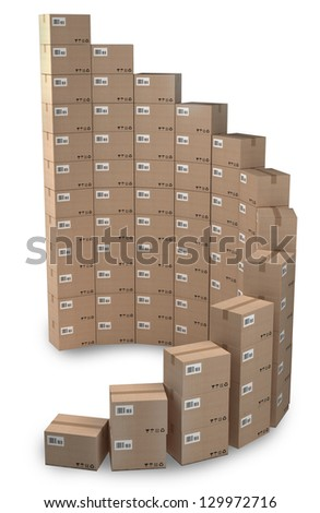 Rising sales, Cardboard boxes concept - stock photo