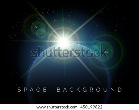 Rising Star over the planet. Space background. Free font used. - stock photo
