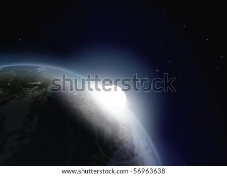 Rising sun - stock photo