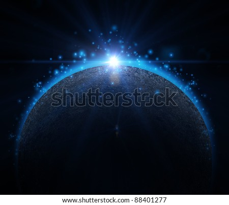 Rising Sun over the planet background - stock photo