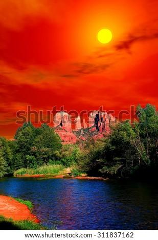 Rising Sun Red Rock country mountains surrounding Sedona Arizona - stock photo