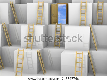 Rising until the success concept - stock photo