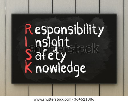 RISK acronym on blackboard written with chalk. Responsibility insight safety knowledge. Motivation and business concept.