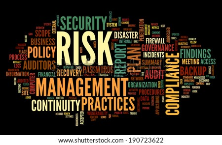 Risk and compliance in word tag cloud on black - stock photo