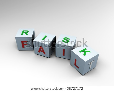 Risk and Fail - Two sides, 3d image - stock photo
