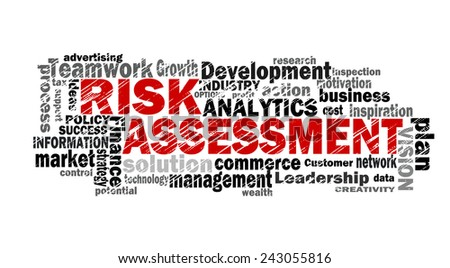 risk assessment word cloud with related tags - stock photo