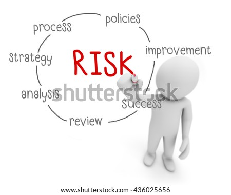 risk black and red text ,business man writing risk concept ,Man explain solution of risk , 3d rendering