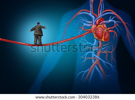 Risk factors for heart disease danger as a medical health care concept with an overweight person walking on a long artery highwire as a symbol for coronary illness hazard or high blood pressure.  - stock photo