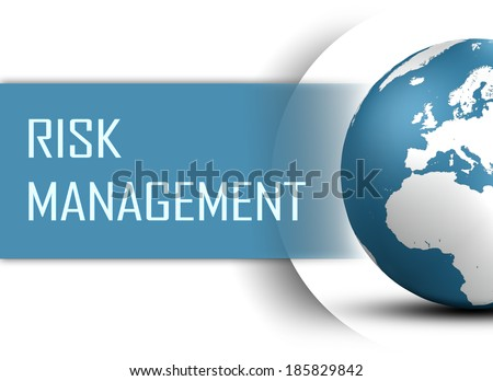 Risk Management concept with globe on white background - stock photo