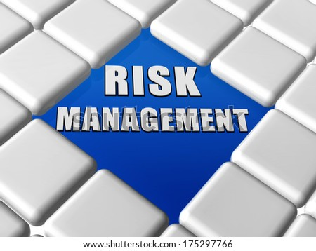 risk management - 3d letters over blue between grey boxes keyboard, business organization concept words - stock photo