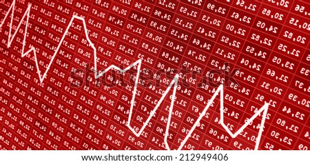 Risk management. Financial crisis concept business analysis diagram. Losing money, red arrow pointing down meaning sell forex trade loss showing the decline. - stock photo