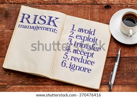 risk management strategies (avoid, exploit, transfer, accept, reduce,ignore) - handwriting in an old notebook with a cup of coffee - stock photo