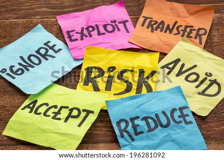 risk management strategies - ignore, accept, avoid, reduce, transfer and exploit on colorful sticky notes - stock photo