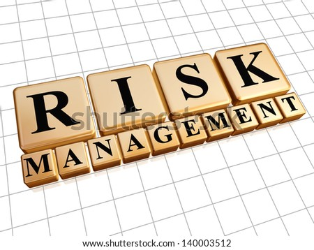 risk management - text in 3d golden cubes with black letters, business concept - stock photo
