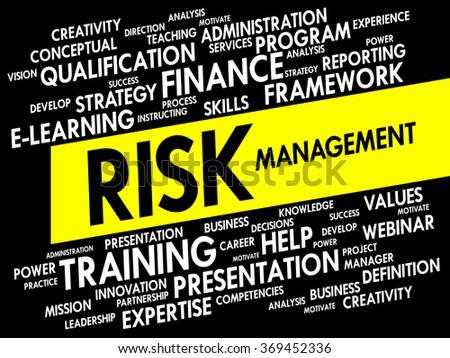 Risk Management word cloud, business concept presentation background - stock photo