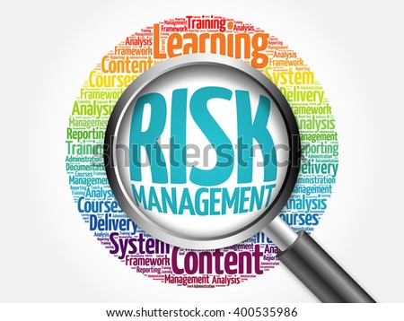 Risk Management word cloud with magnifying glass, business concept - stock photo