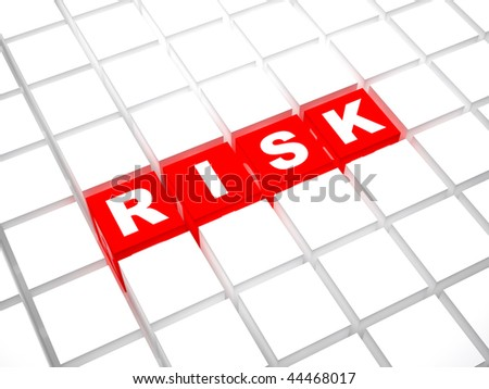 Risk word concept from red cubes in a white mass - stock photo