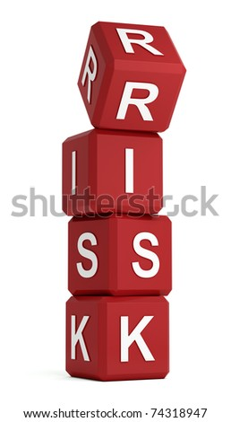Risk word on red cubes with upper one being unsafe - stock photo