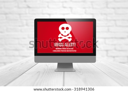 risks concept: computer digital generated with virus alert on the screen. All screen graphics are made up. - stock photo