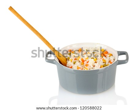 Risotto in  gray pot isolated on white