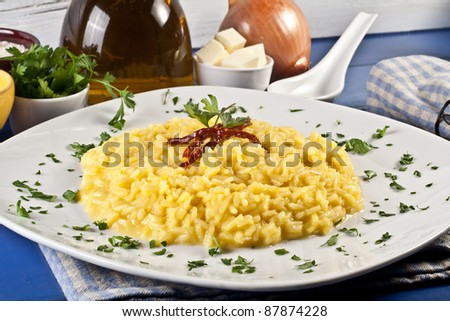 Risotto Milanese with saffron - stock photo