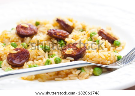 risotto with chorizo and pea